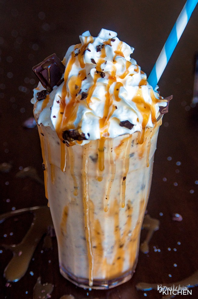 Dairy Free Salted Caramel Milkshake. This dairy free milkshake uses cashew milk ice cream and coconut milk. Top with coconut whipped cream, caramel sauce and shaved dark chocolate. Super yummy dessert drink!