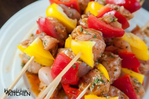 Kickin' Chicken Kebabs with Spicy Peanut Sauce. If you're looking for a spicy chicken kebab recipe that hits you with flavor and not heat then you need to try this new dinner favorite. It uses Valentina Mexican hot sauce so it's not overly spicy. Add yellow and red peppers to the skewer to get your veggies in!
