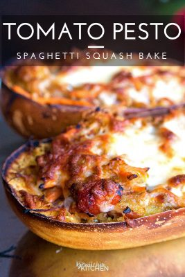 Tomato Pesto Spaghetti Squash Bake - this 21 Day Fix recipe is a gluten free and low carb dinner favorite. It's packed with fire roasted tomatoes, pesto, mozzarella and parmesan cheese and a few servings of vegetables.