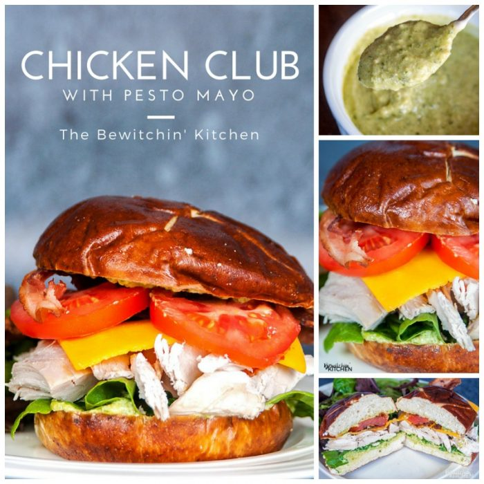 Chicken Club Pretzel Bun Sandwich - This sandwich recipe was inspired by Swiss Chalet's Chicken Club Kaiser. This is perfect for lunch, dinner or a snack and I LOVE the pesto mayo. It's an easy recipe to make if you have some pre-cooked chicken ready to go, perfect for leftovers with a twist.