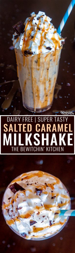Dairy Free Chocolate Salted Caramel Milkshake. This dairy free milkshake uses cashew milk ice cream and coconut milk. Top with coconut whipped cream, caramel sauce and shaved dark chocolate. Super yummy dessert drink!