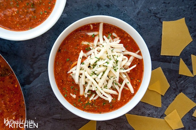 Gluten Free Lasagna Soup. This soup is AWESOME and super cheesy. A fall soup favorite that actually tastes like lasagna, and easy enough to toss in the slow cooker!