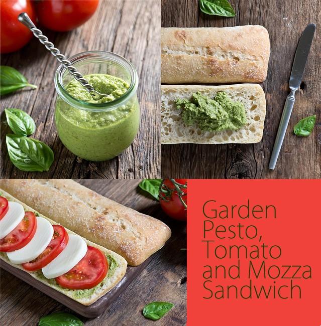 Garden Pesto, Tomato and Mozza Sandwich via The Bewtichin Kitchen