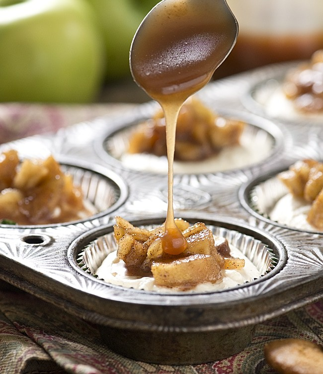 Easy to make, no bake Mini Apple Salted Caramel Cheesecakes for any occasion! The recipe is simple to make and big on taste!