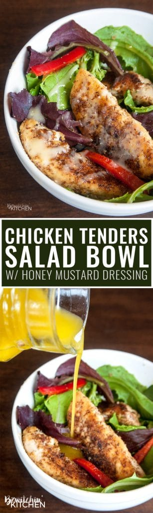 Chicken Tenders Salad with Honey Mustard Dressing - a healthy recipe idea that's 21 Day Fix approved, gluten free and full of fiber. Healthy dinner or lunch in a hurry!