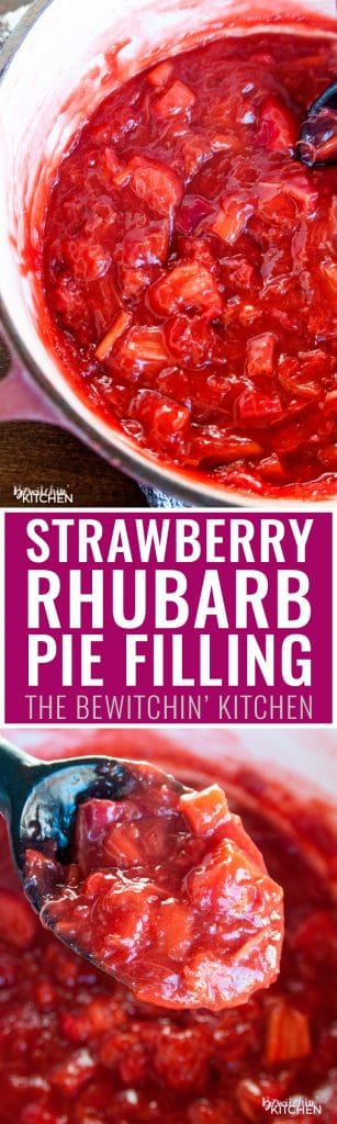 Strawberry rhubarb pie filling recipe. This simple recipe goes great in parfaits, turnovers, and pie! My favorite summer dessert recipe.
