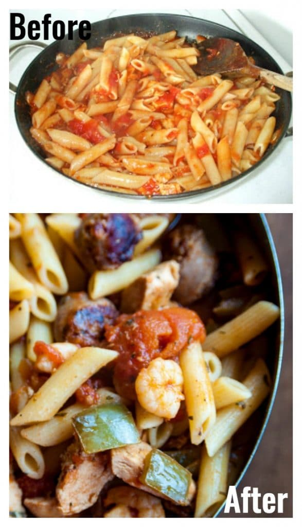 Look at this food photography before and after! This is the same recipe for Penne Jambalaya! How to improve your food photography with tips from Food Blogger Pro.