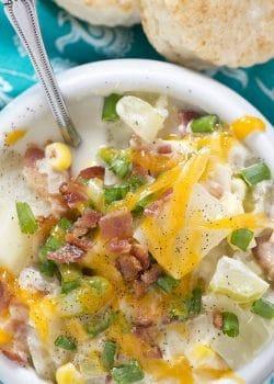 Potato and Bacon Chowder via The Bewitchin Kitchen