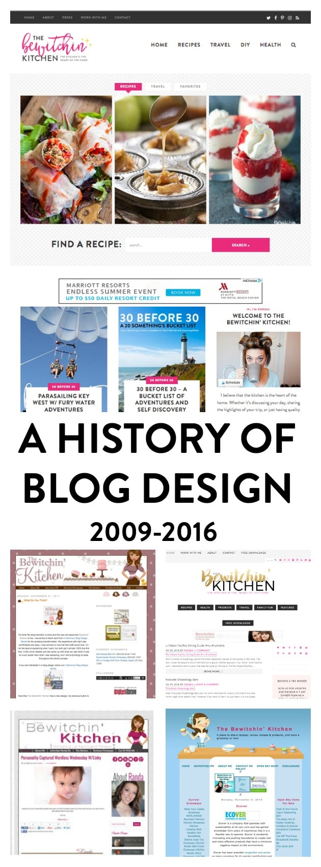 A history of blog design and finding your blog's identity. Site design: Purr Design. Blog: The Bewitchin' Kitchen. From 2009-2016.