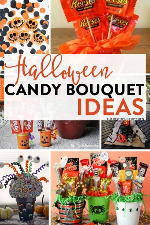 Halloween Candy Bouquet Ideas - 7 easy DIY candy bouquets for fun Halloween party decor or special trick or treaters.
