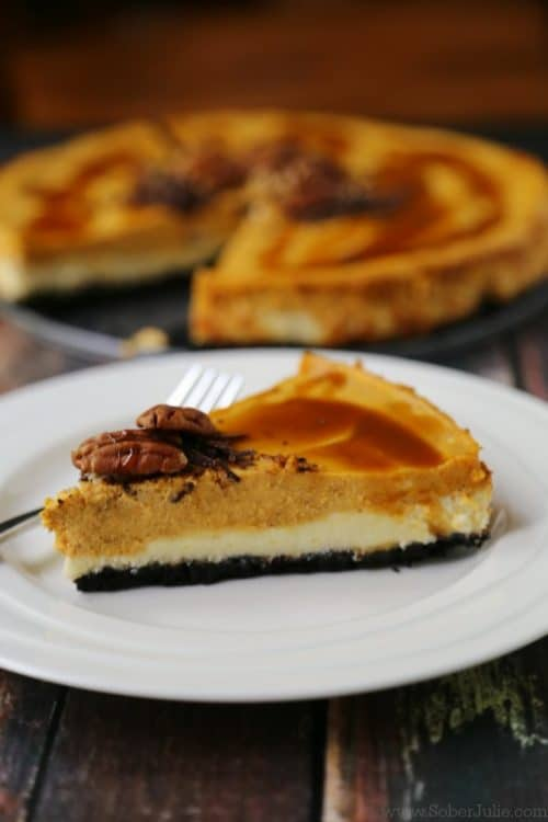 Layered Pumpkin Cheesecake via Sober Julie - Holiday Entertaining
