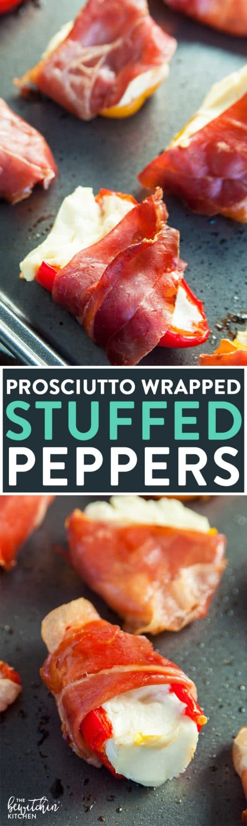 Prosciutto Wrapped Stuffed Peppers Recipe - these easy stuffed peppers are loaded with cream cheese and wrapped with salt prosciutto (fancy bacon). Perfect appetizer for parties and the holidays (like Christmas, Thanksgiving and New Years).