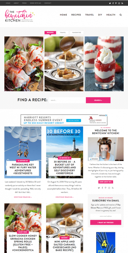 My favorite blog design ever! Site design by Purr Designs. Website: The Bewitchin' Kitchen. Food, travel and lifestyle blog.