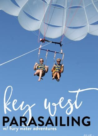 Parasailing in Key West Florida with Fury Water Adventures. This is a travel bucket list item and I was able to cross it off my 30 before 30. Best of all I had the beautiful view of the Florida Keys!