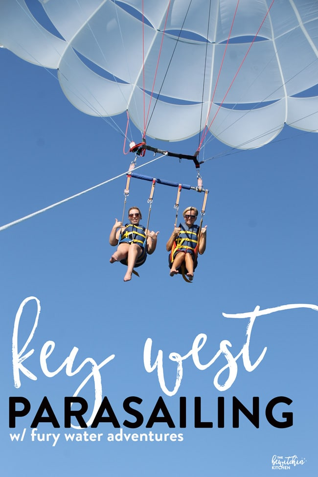 Parasailing Key West Florida with Fury Water Adventures. This is a travel bucket list item and I was able to cross it off my 30 before 30. Best of all I had the beautiful view of the Florida Keys!