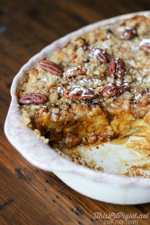 Pumpkin French Toast Bake. A delicious breakfast recipe that's easy to put together. This strata is a new fall breakfast recipe favorite!