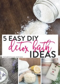 "5 easy DIY detox baths - easy ""bath recipe"" to make you feel better and help relieve symptoms of illnesses."