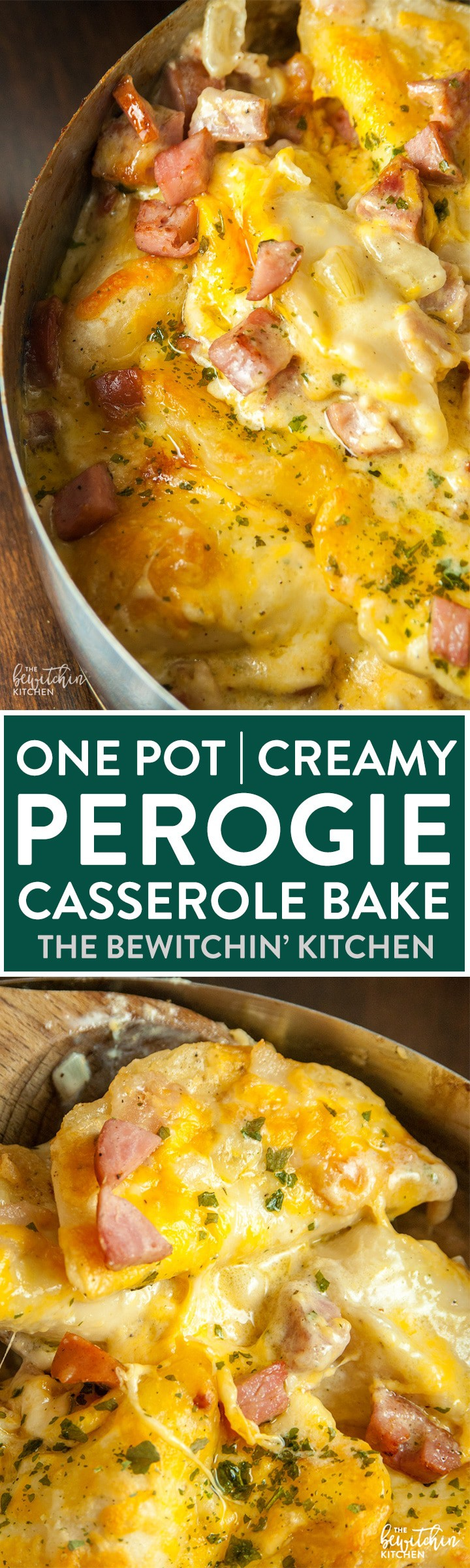 One pot perogie casserole bake - these creamy baked pierogies are AMAZING and a super easy dinner recipe! Perogies, cream, butter, garlic sausage, bacon, onions and cheese. Hello comfort food. Goodbye skinny jeans.