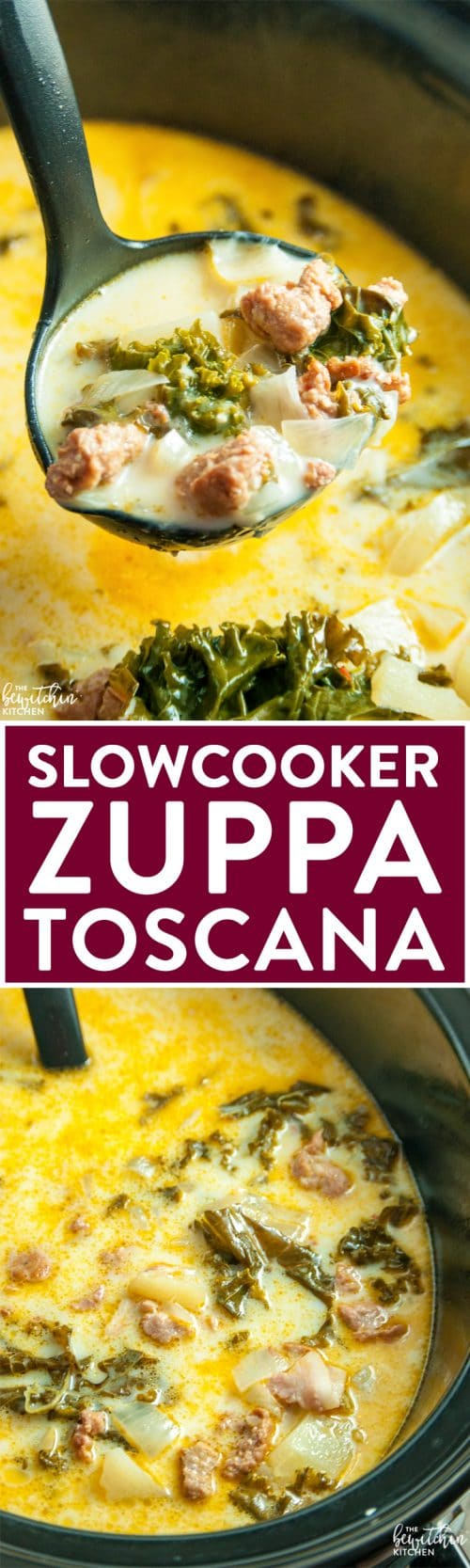 Slow Cooker Zuppa Toscana - a simple soup recipe that's based off an Olive Garden favorite.   thebewitchinkitchen.com