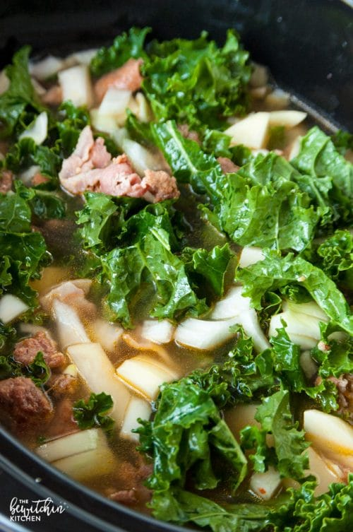 Slow Cooker Zuppa Toscana - a simple soup recipe that's based of an Olive Garden favorite.   thebewitchinkitchen.com