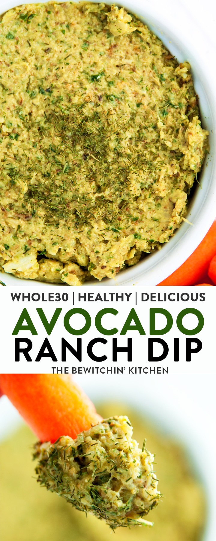 Looking for a healthy dip recipe? Check out this Avocado Ranch Dip. This appetizer is Whole30 and loaded with veggies and healthy fats. The secret ingredient? Cauliflower!