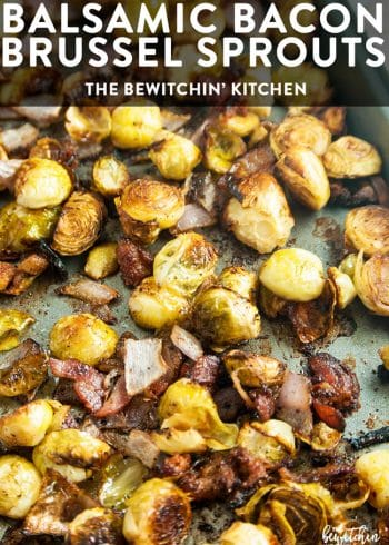 Balsamic Bacon Brussels Sprouts - this healthy side dish is an easy one pan recipe that goes great with chicken, steak or Christmas dinner.