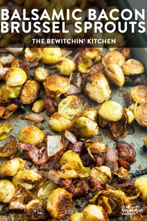 Balsamic Bacon Brussels Sprouts - this brussel sprouts healthy side dish is an easy one pan recipe that goes great with chicken, steak or Christmas dinner.