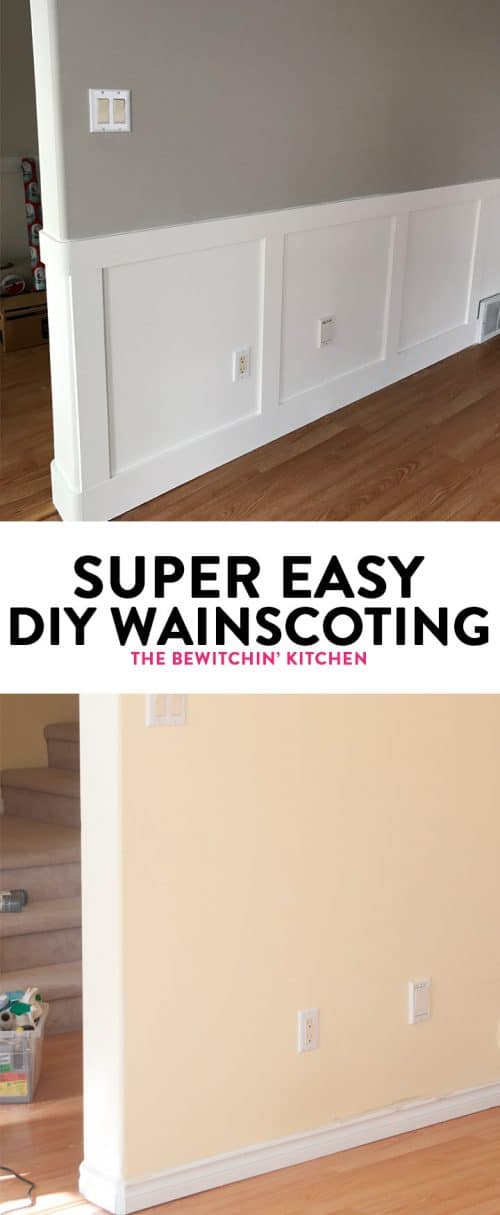 Super easy diy wainscoting the bewitchin 39 kitchen for Super easy diys to do at home