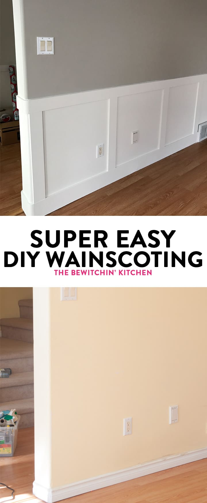 DIY Wainscoting renovation. I didn't think installing wainscotting would be so easy. Here is some inspiration, a how to, and my secret to getting started. Wainscoting paint color is Benjamin Moore Cloud White. Walls are both Revere Pewter and Classic Grey.