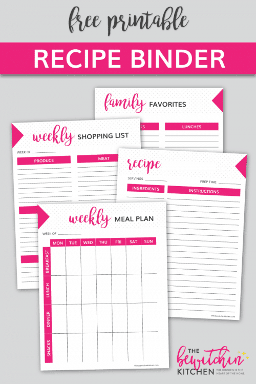 Download your free recipe binder printable pack! These free printables include a weekly meal plans, weekly shopping lists, recipe cards, and a worksheet to save your family favorites.