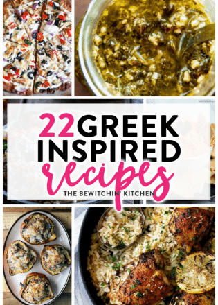 22 Greek Inspired Recipes - from appetizers to soups to dinner recipes. If you love greek food, then you'll love this recipe round up. | thebewitchinkitchen.com