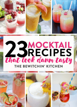 23 mocktail recipes that are damn tasty! Fancy drinks that have no booze in them, perfect for afternoon sips, fancy kid drinks or a festive pregnancy beverage.