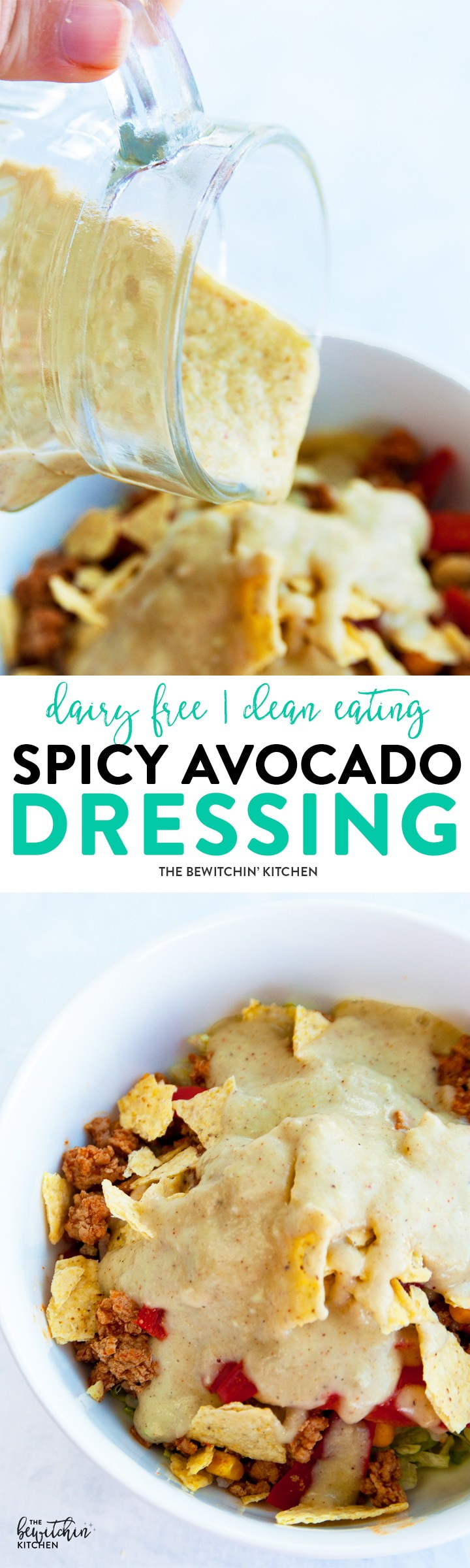 Spicy Avocado Dressing easy homemade salad dressing recipe that's creamy, yet dairy free. It makes a great fry dip too! Whole30, Paleo and 21 Day Fix approved!