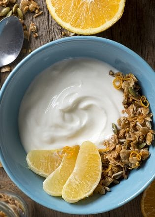 Good For You Kefir Bowl with Citrus Buckwheat Granola - a healthy breakfast or snack idea.