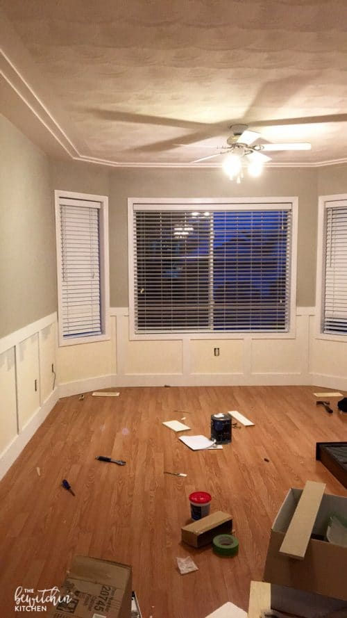 DIY Wainscoting renovation. I never thought installing wainscotting would be so easy. Here is some great inspiration! (Color: Benjamin Moore Cloud White.)