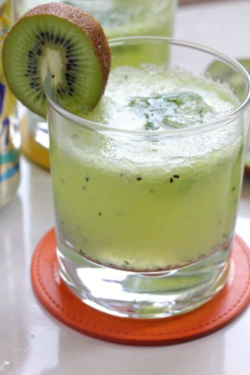 Lemon Pineapple Kiwi Sparkler - 23 mocktail recipes that are damn tasty! Fancy drinks that have no booze in them, perfect for afternoon sips, fancy kid drinks or a festive pregnancy beverage.