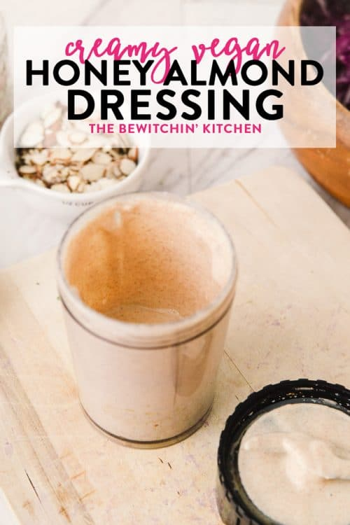 This creamy vegan almond dressing is easy to make and goes well with winter bowl recipes. Homemade salad dressings not just healthy, but simple to make! This recipe follows the guidelines of the paleo diet, 21 Day Fix and other Beachbody programs and if you omit the honey it is Whole30 approved as well.