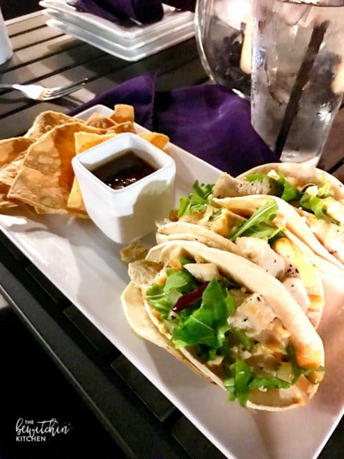 Amazing Chicken Tacos at the rooftop bar, The Fifth in Anaheim.