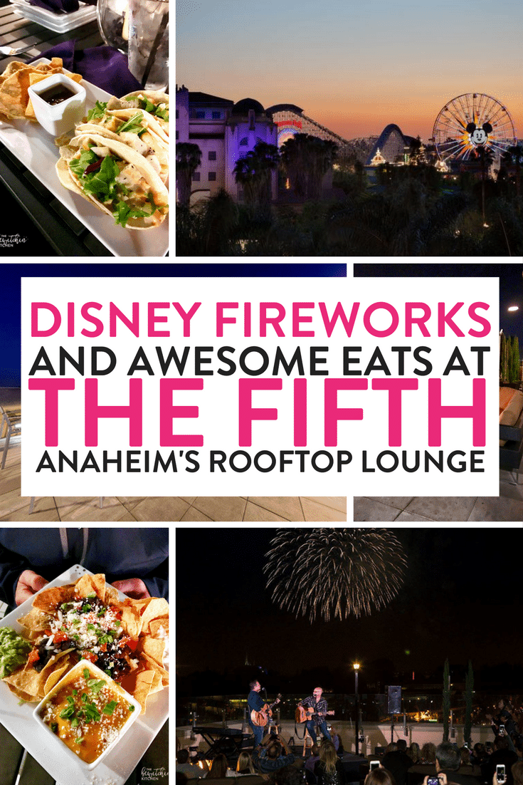 Looking where to dine with kids at Disney or where to watch the Disneyland fireworks? The Fifth OC is a family friendly rooftop bar in Anaheim right across the street from Disneyland. Amazing food, service and views.