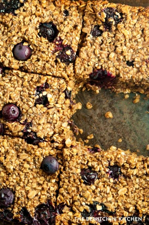 These wholesome blueberry breakfast bars are a yummy and healthy alternative to blueberry oatmeal. They're filling and offer loads of fiber. Serve one with coffee for a yummy afternoon snack.