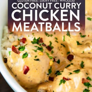 Overheat shot of whole30 coconut curry chicken meatballs recipe.