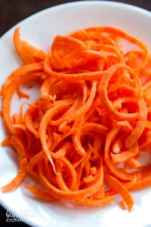 Spiralized Sweet Potato for stir fry