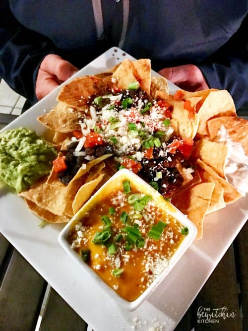 Nachos at The Fifth OC. A rooftop bar in Anaheim, California right across from Disneyland.