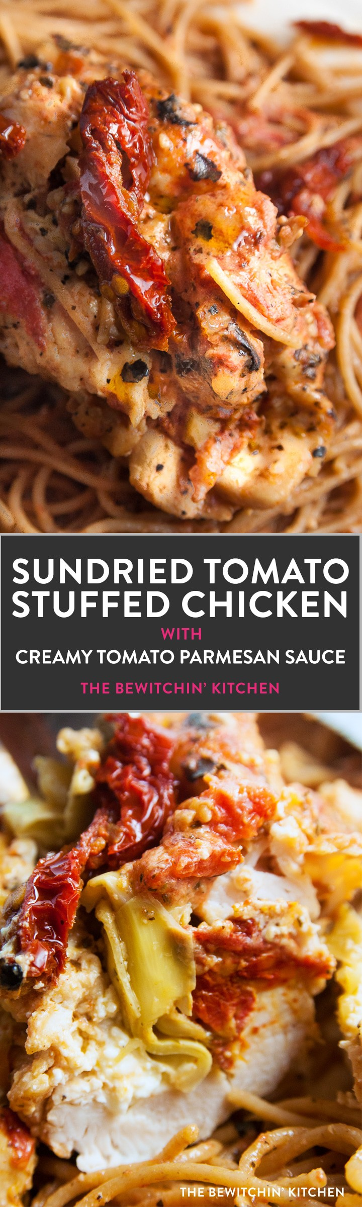 Sundried tomato stuffed chicken breasts with a creamy tomato parmesan sauce. This chicken breast recipe is stuffed with sundried tomatoes, cream cheese, and artichokes. Delicious served over pasta or with a healthy side salad for dinner.