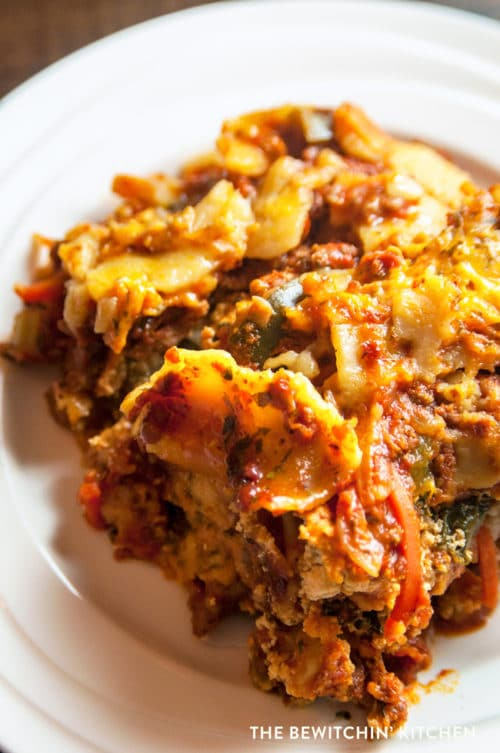 Healthy Crockpot Lasagne. This vegetable loaded lasagna recipe is made in the crockpot (or slowcooker) so it's easy and less work! Make it ahead of time for an easy weekday dinner.