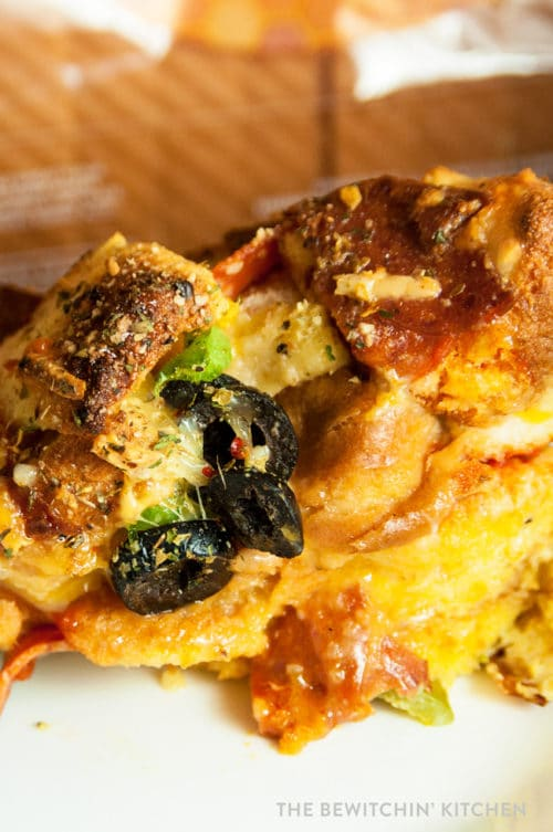 Pepperoni Pizza Strata. This delicious strata is a twist on a breakfast bake. Serve this for breakfast, lunch, or dinner.