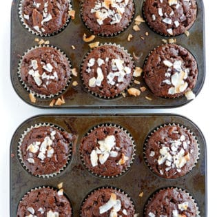 Coconut Chocolate Muffins - healthy chocolate muffins that are refined sugar free. Coconut sugar, maple syrup, with some zucchini added in. Healthy muffin recipes are not only delicious but add some hidden nutrition!