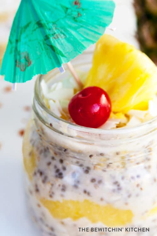 Pina Colada Overnight Oats recipe - This dairy free, gluten free and refined sugar free treat is delicious served warm or cold. This tropical dessert works great as a breakfast or a snack.
