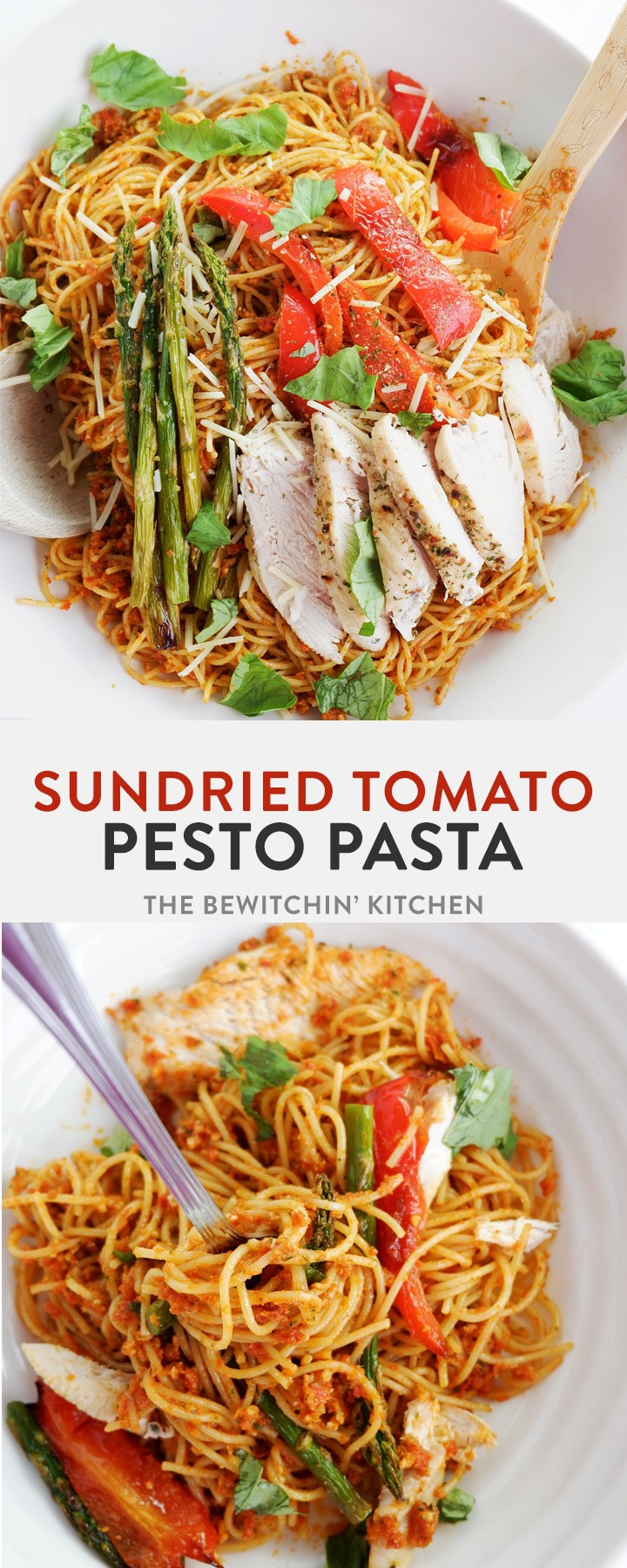 Sundried Tomato Pesto Pasta - this delicious summer dinner pasta dish features my favorite spring and summer vegetables and a homemade sundried tomato pesto.