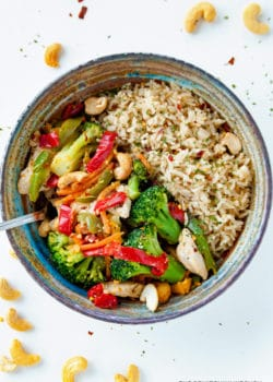 This healthy chicken stir fry takes a few minutes to make and is loaded with ingredients that are Whole30 and Keto Diet compliant (when you get rid of the rice). It's a quick and easy clean eating recipe.